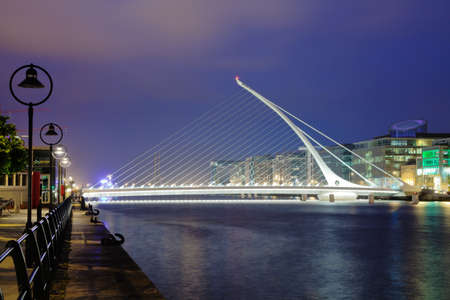 eventide: Samuel Beckett Briddge in Dublin at night