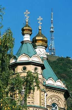lazarus: Russian church, temple in the name just Lazarus and TV tower.City Pyatigorsk,Caucasus,Russia. Stock Photo