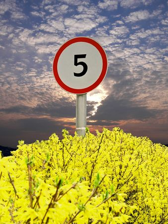kilometre:  sign on background sky. Stock Photo