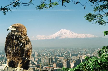 Mountain Ararat and city Yerevan,Armenia. Standard-Bild