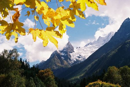 gold capped: Autumn in Caucasus mountains in Russia.