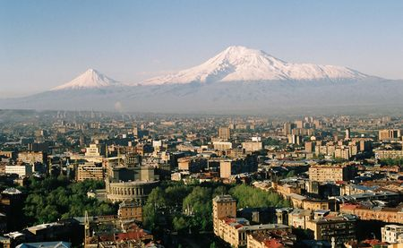 Mountain Ararat and city Yerevan.Armenia.