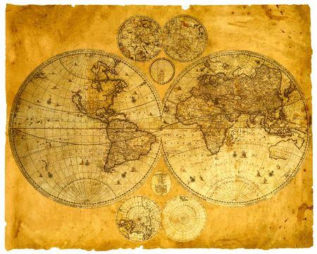 Old paper world map, Armenia.  photo