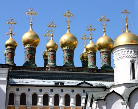 Domes of the Kremlins Churches and Cathedrals,Moscow,Russia. Stock Photo
