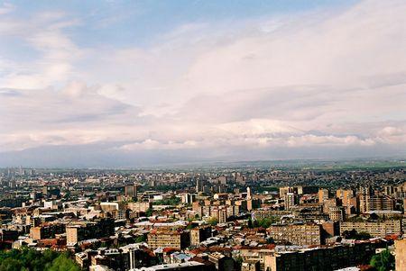 City Yerevan, mountain ridge of Caucasus,Armenia.