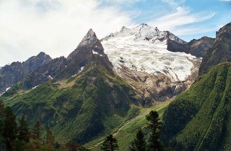 dombai: Glacier in Dombai,Western Caucasus,Russia.