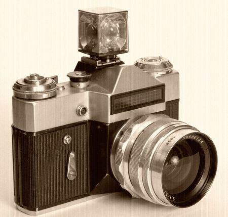 photocamera: Overal shot of an old soviet photocamera.