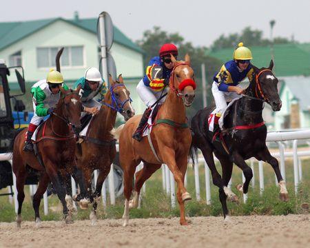 pyatigorsk: PYATIGORSK,RUSSIA - AUGUST 15:The race for the prize of the Ogranichitelni;The jockey Isakov,Mardanov,Gabidulin and Saitgaleev. August 15; 2010 in Pyatigorsk; Caucasus; Russia.