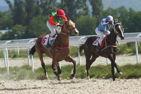 PYATIGORSK, RUSSIA - SEPTEMBER 19: The race for the prize of the Pyatigorsk;The jockey Hatkov and Ulubaev.September 19, 2010 in Pyatigorsk; Caucasus; Russia.  Stock Photo - 7839998