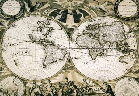 topografia: Mapamundi de papel viejo, Holanda. Foto de archivo