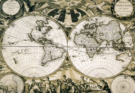 Old paper world map, Holland. Stock Photo