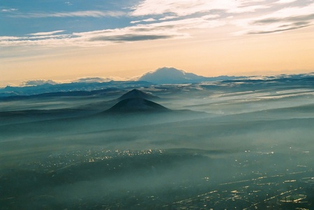 Panoramic view of the main Caucasian mountain ridge. photo