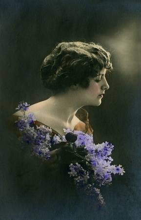 edwardian: Vintage portrait of a young girl. The shot was taken around 1924 year.