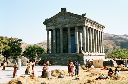 Garni of Armenia-architectonic construction.Museum in the open sky. Standard-Bild