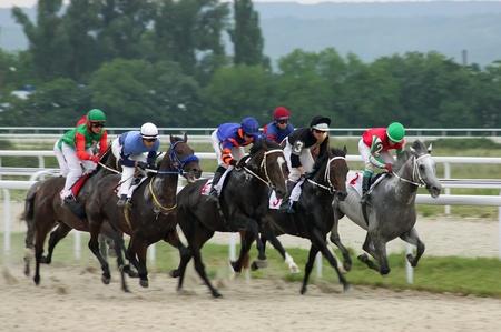 pyatigorsk: PYATIGORSK, RUSSIA - JULY 10: Riders at the start of a race for the prize of  Editorial