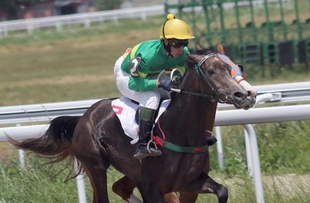 pyatigorsk: PYATIGORSK, RUSSIA - 17 luglio: Jockey Imran Mardanov attraversa il traguardo prima in una corsa di cavalli per il premio della Ogranichitelni su 17 luglio 2011 in Pyatigorsk, Caucaso, Russia.