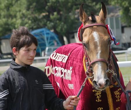 PYATIGORSK, RUSSIA - AUGUST 7: An unidentified groom and black akhal-teke horse, stallion Jemchug race for the prize of Bolshoi on August 7,2011 in Pyatigorsk, Caucasus, Russia.  Stock Photo - 10249554