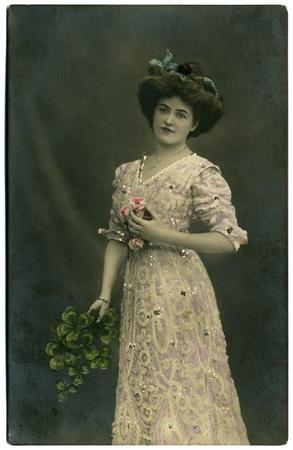 f�minit�: Vintage portrait d'une jeune fille. La photo a �t� prise autour de 1924 ans. Banque d'images