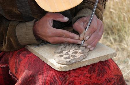 Manual Worker in Sevan,Armenia. Stock Photo