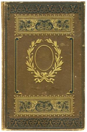 oud document: Oude boeken deksel op wit wordt geïsoleerd.