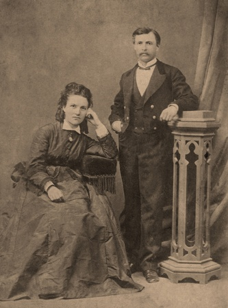 Antique family photo of long ago passed away relatives - circa 1894, Russia.