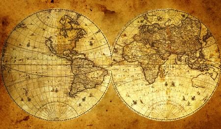 coordinacion: Antiguo mapa del mundo de papel, de Armenia. Foto de archivo