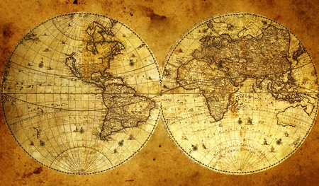 coordination: Old paper world map, Armenia.  Stock Photo