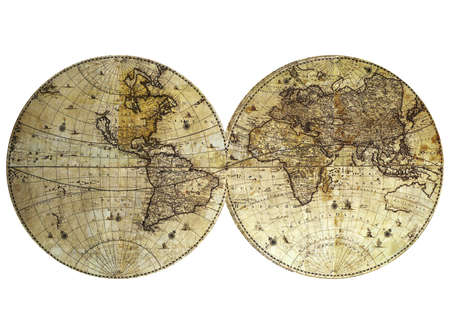 Vintage world map on white background Stock Photo