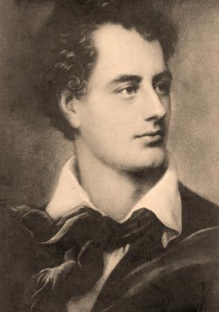 byron: George Byron (1786 - 1824), 6th Baron Byron, British poet. Vintage postcard. Editorial