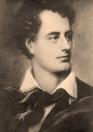 George Byron (1786 - 1824), 6th Baron Byron, British poet. Vintage postcard. Editorial