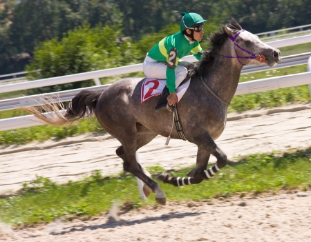 Action shot of jockeys in horse race,Pyatigorsk,Caucasus. Stock Photo