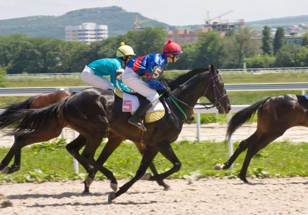 Action shot of jockeys in horse race, Pyatigorsk,Caucasus.