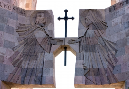 The main entrance to the monastery Echmiadzin,Armenia Echmiadzin is the center of the Armenian Church  Stock Photo