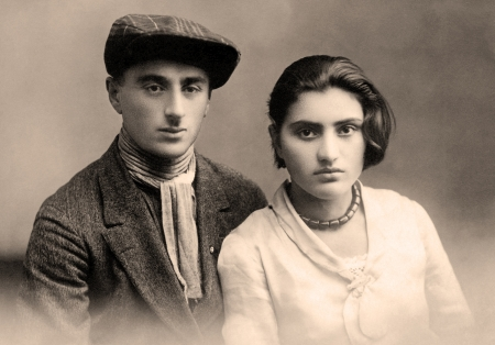 Antique family photo of long ago passed away relatives - circa 1921,Armenia.
