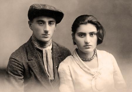 Antique family photo of long ago passed away relatives - circa 1921,Armenia.