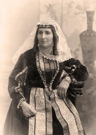 armenian woman: Old photo of young Armenian woman, Russia,1908 year  Stock Photo