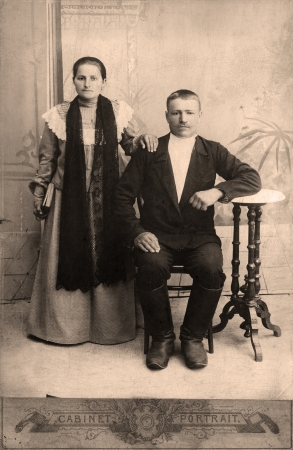 family history: Portrait of a victorian man and his wife