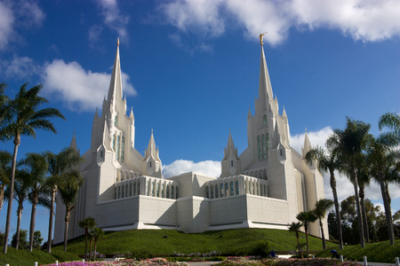 mormon temple: Beautiful Mormon temple in San Diego,California,Usa.