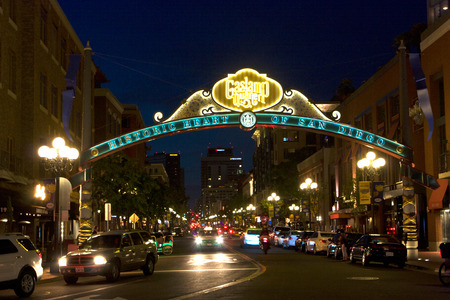 SAN DIEGO , CA - MAY 05 : The Gas Lamp Quarter in San Diego, California, on May 05 2014
