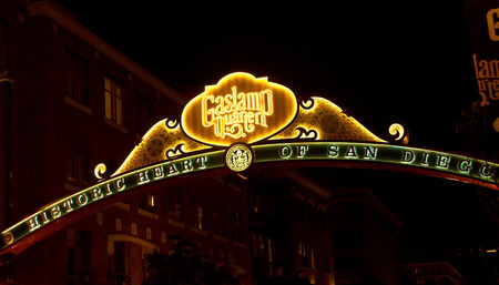 SAN DIEGO , CA - MAY 05 : The Gas Lamp Quarter in San Diego California on May 05 2014 , Gaslamp is the historic heart of San Diego. 