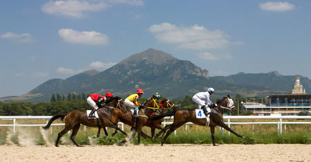 horse race: Horse race for the prize Volgi,Russia.