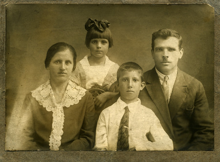 Vintage portrait,family of the cossacks,1914 year,Russia.