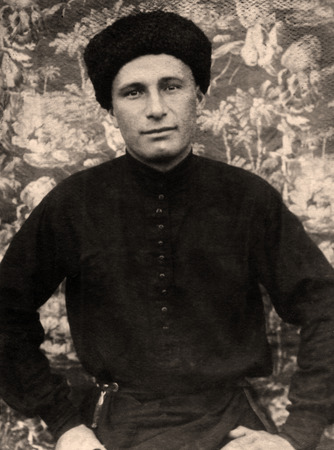 russian ethnicity: A vintage photo portrait from 1936 of Russian man.