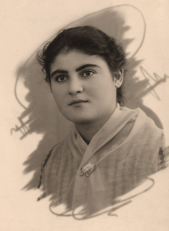 old fashioned sepia: Vintage portrait of a armenian women. The shot was taken around 1956 year. Stock Photo