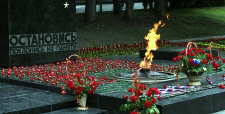 pyatigorsk: Pyatigorsk, Russia - 9 maggio 2015: il fuoco eterno e fiori in memoria delle vittime nella guerra mondiale sulla giornata della vittoria, in Piazza Lenin, Pyatigorsk, Russia.
