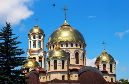 orthodox church: Dome with cross on roof of Orthodox Church in Nalchik city. Stock Photo