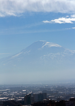 snow covered mountain: View of snow covered Mountain Ararat from Armenia. Stock Photo