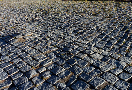 geghard: Pavement paved with cobblestone of ancient Geghard,Armenia. Stock Photo