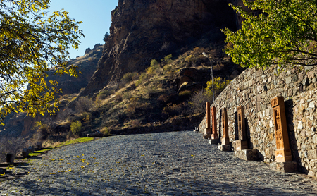 geghard: Pavement paved with cobblestone of ancient Geghard monastery,Armenia.