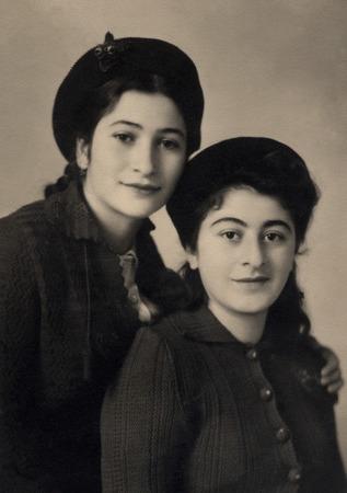 armenian woman: A vintage photo portrait from 1951 of Armenian sisters.